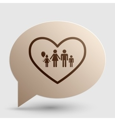 Family sign in heart shape Brown vector image