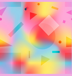 fashion pattern with pink yellow and blue shapes vector image