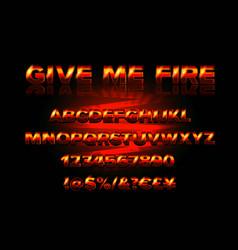 Fire burning latin alphabet font vector
