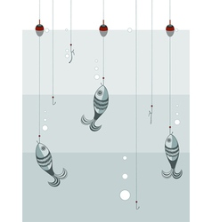 Fishes on the hooks vector