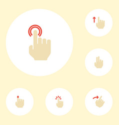 Flat icons gesture touch swipe and other vector