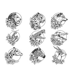 flowers and animals set sketch vector image