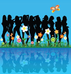 Girls among the flowers and butterflies vector