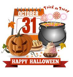 Halloween calendar jack o lantern and candies vector