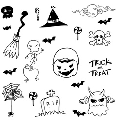 Halloween scary in doodle set vector image