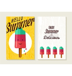Happy summer vacation color design with ice cream vector