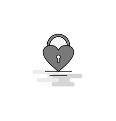 heart lock web icon flat line filled gray icon vector image