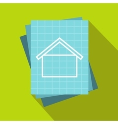House blueprint icon flat style vector