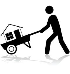 House on a wheelbarrow vector