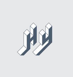 Hy - 2-letter code isometric 3d font for design vector