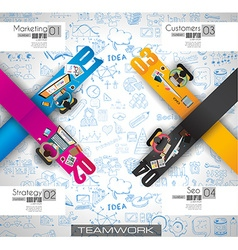 Infographics Teamwork with Business doodles Sketch vector