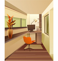 interior workplace on balcony vector image