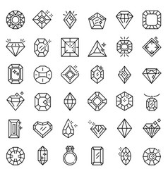 Jewel icons set outline style vector