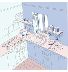 Kitchen anime background style blue and pink vector