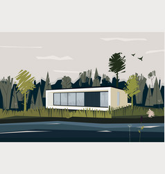 landscape with house and forest vector image