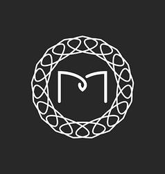 Letter M logo monogram frame mockup for wedding vector