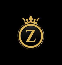 Letter z royal crown luxury logo design vector