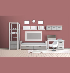 living room realistic interior vector image vector image
