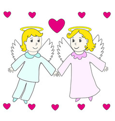 Lovely angels boy and girl fly in hearts vector