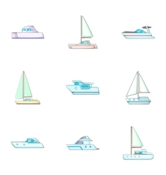 Maritime transport icons set cartoon style vector