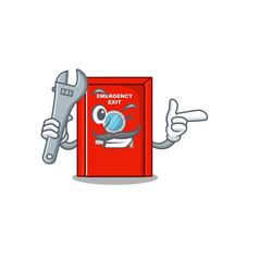 Mechanic emergency exit door with cartoon shape vector
