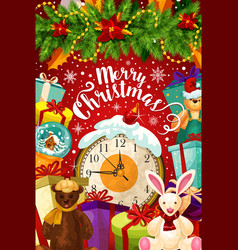 Merry christmas celebration greeting card vector