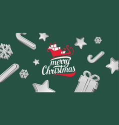 merry christmas poster modern hand drawn vector image