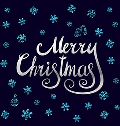 Merry Christmas - silver glittering lettering vector image