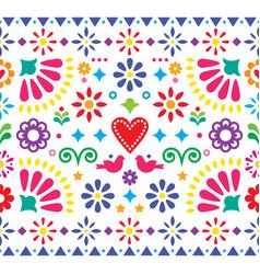 mexican folk art vibrant seamless pattern vector image