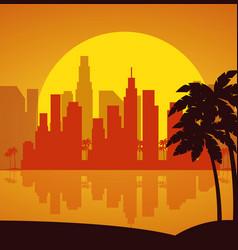 miami beach cityscape scene vector image