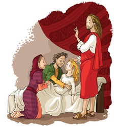 miracles of jesus raising of jairus daughter vector image