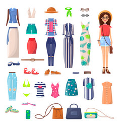 modern young girl with big summer outfits set vector image
