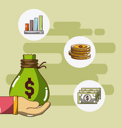 money and investment cartoons vector image