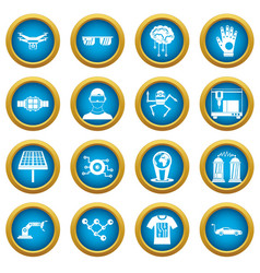 new technologies icons blue circle set vector image