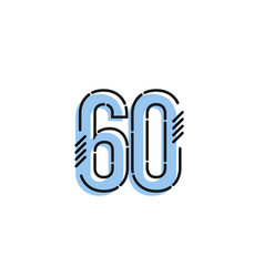 Number 60 template design design for anniversary vector