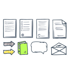 office paper documents and arrows icons set vector image
