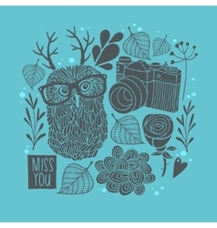 Owl in eyeglasses with horns winter background vector