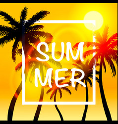 palms summer cover frame banner vector image