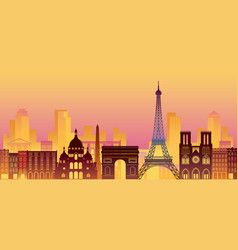 paris france landmarks skyline night scene vector image