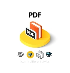 PDF icon in different style vector