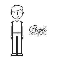 People flat line design vector