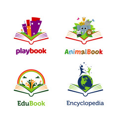playful book open logo template collection vector image