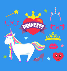 princess party unicorn and crown icons set vector image