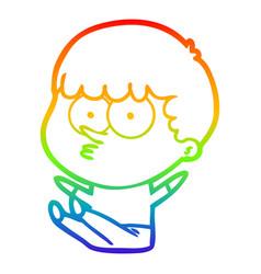 Rainbow gradient line drawing cartoon boy sat vector