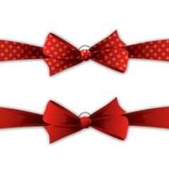 Red polka dot bow and ribbon vector