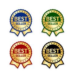 Ribbons award best seller set gold ribbon award vector