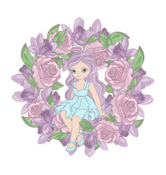 Rose princess floral flower wreath vector