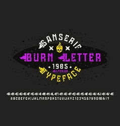 Sanserif font with flame initial letter vector