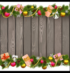 Seamless Christmas Border with Gifts on Old Board vector