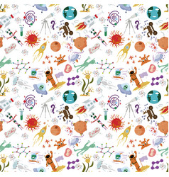 Seamless pattern of childrens drawings in flat vector